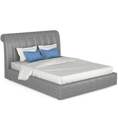 Кровать интерьерная Августа + ортопед, к/з Вик-ТР 791 Alamo (серый), ШхГхВ 175х236х113,5 см., сп.м. 1600х2000, б/м