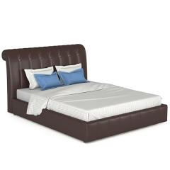 Кровать интерьерная Августа + ортопед, к/з Вик-ТР 797 Alamo (коричневый), ШхГхВ 175х236х113,5 см., сп.м. 1600х2000, б/м