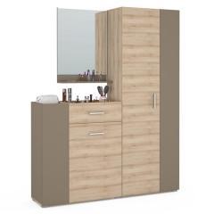 Чили Прихожая 5, комод + зеркало + шкаф, цвет бук песочный/латте, ШхГхВ 151х35х191 см., универсальная сборка
