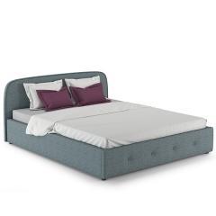Кровать интерьерная Илона + ортопед, ткань Ролан 3064/4 рогожка (серо-бирюзовый), ШхГхВ 174х215х85 см., сп.м. 1600х2000, б/м