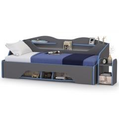 Индиго Кровать 11.03 + Тумба прикроватная 13.86 + ортопед, цвет тёмно серый/граффити, ШхГхВ 235х112,5х83,1 см., сп. м. 900х2000 мм., б/м