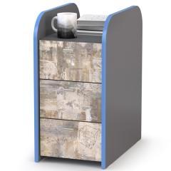 Индиго Тумба 10.94, цвет тёмно серый/граффити, ШхГхВ 30х50,1х60,1 см.