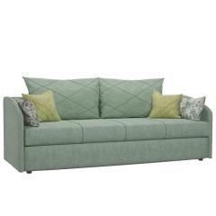 Лавли диван-кровать, ткань ТД 135(Медли Минт/подушки: Медли Сейдж и Fibre Богема Грей), ШхГхВ 213х80х84(70) см., сп. м. 75х198 см., короб для белья