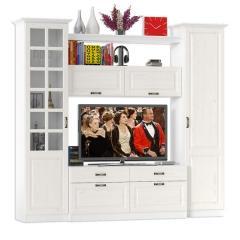 Ливерпуль Набор мебели 1, цвет ясень ваниль/белый, ШхГхВ 240х49,3х220,3 см.(без учёта карниза), ниша для тв 140х49х90 см.