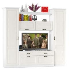 Ливерпуль Набор мебели 2, цвет ясень ваниль/белый, ШхГхВ 240х49,3х220,3 см.(без учёта карниза), ниша для тв 140х49х90 см.