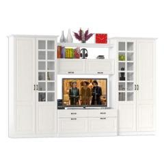 Ливерпуль Набор мебели 3, цвет ясень ваниль/белый, ШхГхВ 340х49,3х220,3 см.(без учёта карниза), ниша для тв 140х49х90 см.