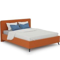 Кровать интерьерная Миа + ортопед, ткань Купер 12 жаккард (тыквенный), ШхГхВ 185х216х100 см., сп.м. 1600х2000, б/м
