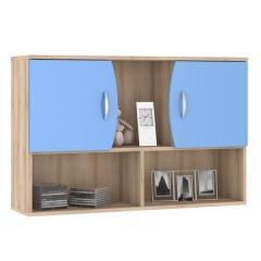 КРДА??? Ника 416М Навесной шкаф с нишами, цвет бук песочный/капри синий, ШхГхВ 102х28х67 см.