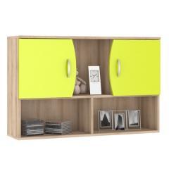 КРДА??? Ника 416М Навесной шкаф с нишами, цвет бук песочный/лайм зелёный, ШхГхВ 102х28х67 см.