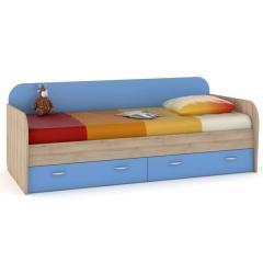КРДА??? Ника 424 Кровать с ящиками, цвет бук песочный/капри синий, ШхГхВ 204х90х73 см., сп. м. 800х2000 мм., б/м, основание под матрас есть