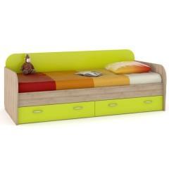 КРДА??? Ника 424 Кровать с ящиками, цвет бук песочный/лайм зелёный, ШхГхВ 204х90х73 см., сп. м. 800х2000 мм., б/м, основание под матрас есть
