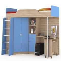 КРДА??? Ника 427Т Кровать-чердак со столом, цвет бук песочный/капри синий, ШхГхВ 204х111х192 см., сп. м. 800х2000 мм., б/м., универсальная сборка