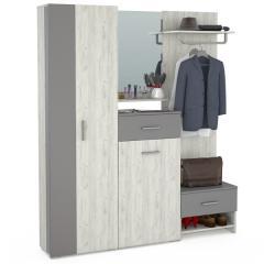 Юнона Прихожая 4, шкаф + комод + зеркало + вешалка + тумба, цвет дуб белый/серый шифер, ШхГхВ 178х35х191 см., универсальная сборка