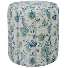 Вояж пуф, ткань ТП 175 Фибра Классика 1904/1 (синие цветы), ШхГхВ 40х40х43 см.