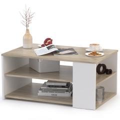 Стол журнальный Сайд 03.236, цвет дуб крафт серый/белый премиум, ШхГхВ 90х60х42,3 см.