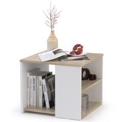 Стол журнальный Сайд 03.237, цвет дуб крафт серый/белый премиум, ШхГхВ 50х50х42,3 см.