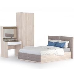 Элен Спальня № 4 Стол туалетный + Кровать 1400 + Шкаф 200, цвет ясень шимо светлый/ткань савана латте, сп. м. 1400х2000 мм., б/о, б/м