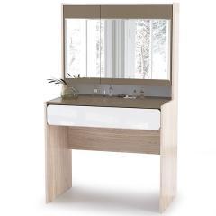 Элен Стол туалетный, цвет ясень шимо светлый/белый глянец/латте, ШхГхВ 90х55,4х151,2 см. (зеркало поворотное)