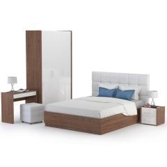 Камея Спальня № 3 Шкаф для одежды 10.78 + Тумба + Кровать + Пуф + Стол туалетный, цвет белый глянец/орех селект каминный, б/м, БЕЗ ортопеда