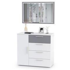 Локи Комод 08.141 с зеркалом 03.239, цвет белый премиум/серый шифер, ШхГхВ 85х41,5х147 см., универсальная сборка