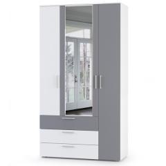 КРДА??? Локи Шкаф для одежды 10.71, цвет белый премиум/серый шифер, ШхГхВ 114,8х51,1х212 см., НЕ универсальная сборка