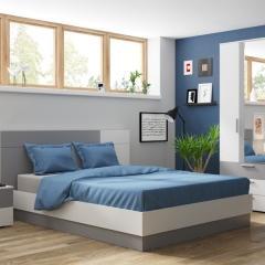 Локи Спальня № 3 тумба 10.87 + кровать 01.37 шкаф 10.71, цвет белый премиум/серый шифер, сп. м. 1600х2000 мм., б/м, БЕЗ ортопеда