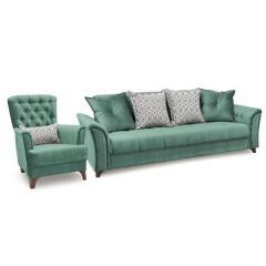 Ирис диван-книжка+кресло, ткань ТД 962, ШхГхВ 245х106х89 + 83х83х92 см., сп. м. 131х195 см., механизм трансформации книжка с 0 стенкой