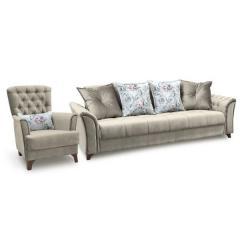 Ирис диван-книжка+кресло, ткань ТД 963, ШхГхВ 245х106х89 + 83х83х92 см., сп. м. 131х195 см., механизм трансформации книжка с 0 стенкой