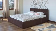 Кровать Афина c мягким изголовьем цвет-шоколад