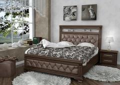 Кровать Лира с отделкой из эко-кожи